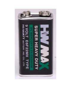 Zinc Chloride Batteries - PP3 - 9V. Pack of 4
